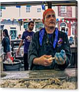 Shucking Oysters In The French Quarter Canvas Print