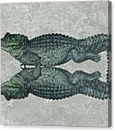 Siamese Twins Blue And Green Crocodiles On Sage Green Stone Canvas Print