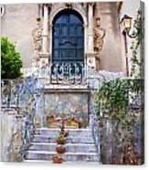 Sicilian Village Steps And Door Canvas Print