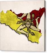 Sicily Map Art With Flag Design Canvas Print