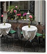 Sidewalk Cafe In Antwerp Canvas Print