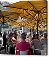 Sidewalk Cafe In Lisbon Canvas Print