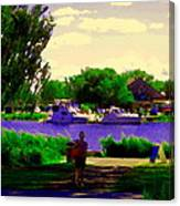 Sights Along The Harbor Late Day Stroll Lachine Canal Bike Path Montreal Scenes Carole Spandau Canvas Print