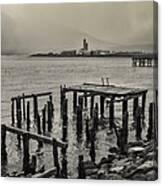 Siglufjordur Old Pier Black And White Canvas Print