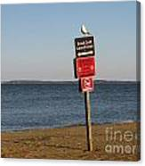 Signage On The Beach At Sandy Point Canvas Print