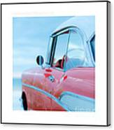 Signed Chevy Belair At The Beach Mini Canvas Print