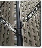 Signs For Broadway And Wall Street Canvas Print