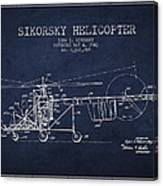 Sikorsky Helicopter Patent Drawing From 1943 Canvas Print