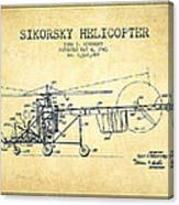 Sikorsky Helicopter Patent Drawing From 1943-vintgae Canvas Print