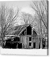 Silent Barn In The Winter Canvas Print
