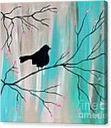 Silhouette Bird-Teal Canvas Print