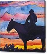 Silhouette Cowboy Canvas Print
