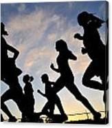 Silhouette Female Runners Canvas Print