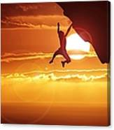 Silhouette Man Hanging On Cliff Against Canvas Print