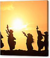 Silhouette Of Hula Dancers At Sunrise Canvas Print