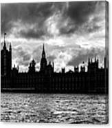 Silhouette Of  Palace Of Westminster And The Big Ben Canvas Print