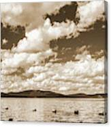 Silhouette Of People Standing In Lake Canvas Print
