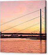 Silhouette Of Rheinturm Tower Canvas Print