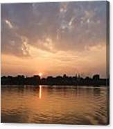 Silhouette Scenery Of  Nakorn Phanom City From Mekong River Canvas Print