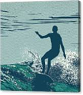 Silhouette Surfer And Big Wave Canvas Print