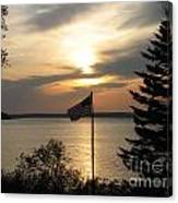 Silhouetted Flag At Sunset Canvas Print