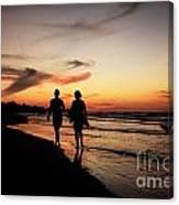 Silhouettes On Varadero Beach Canvas Print