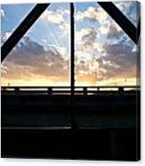 Sillhouette Iron And Concreted Bridges At Sunset In Pai Thailand Canvas Print
