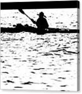 Sillouette Of Man Kayaking On Lake Canvas Print
