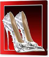 Silver And Red High Heels Canvas Print