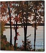 Silver Lake Through Autumn Trees Canvas Print