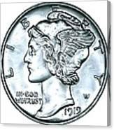 Silver Mercury Dime Canvas Print