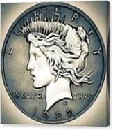 1922 Silver Proof Peace Dollar Canvas Print