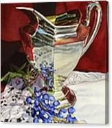 Silver Pitcher And Bluebonnet Canvas Print