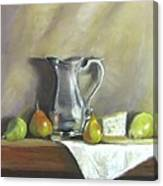 Silver Pitcher With Pears Canvas Print