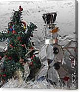 Silver Snowman With Christmas Tree Canvas Print
