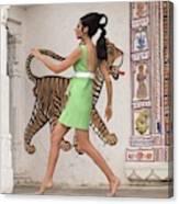 Simone D'aillencourt Wearing A 1960s Style Dress Canvas Print
