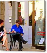 Simplement Dliche Cupcakes Et Ice Tea Bistro Rue St Denis Plateau Montreal Cafe Scene Carole Spandau Canvas Print