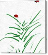 Simply Ladybugs And Grass Canvas Print