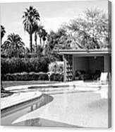 Sinatra Pool And Cabana Bw Palm Springs Canvas Print