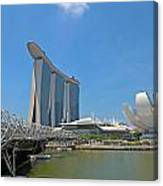 Singapore Artscience Museum Double Helix Bridge And Marina Bay  Canvas Print