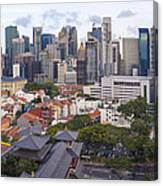 Singapore Central Business District Over Chinatown Area Canvas Print