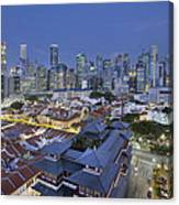 Singapore Central Business District Over Chinatown Blue Hour Canvas Print