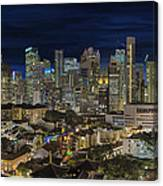 Singapore Central Business District Skyline And Chinatown At Dus Canvas Print