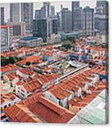 Singapore Chinatown With Modern Skyline Canvas Print