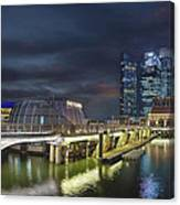 Singapore City By The Fullerton Pavilion At Night Canvas Print