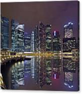 Singapore City Skyline Along Marina Bay Boardwalk At Night Canvas Print