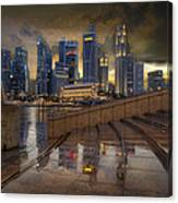 Singapore City Skyline By The Esplanade Canvas Print