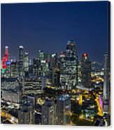 Singapore Cityscape At Blue Hour Canvas Print