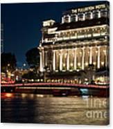 Singapore Fullerton Hotel At Night 02 Canvas Print
