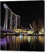 Helix Bridge To Marina Bay Sands Canvas Print